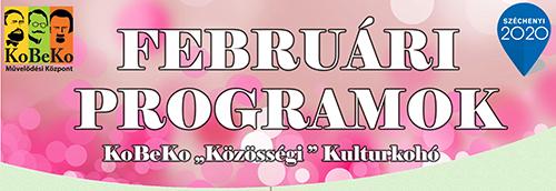 """KoBeKo """"Közösségi"""" Kulturkohó Februári programjai"""