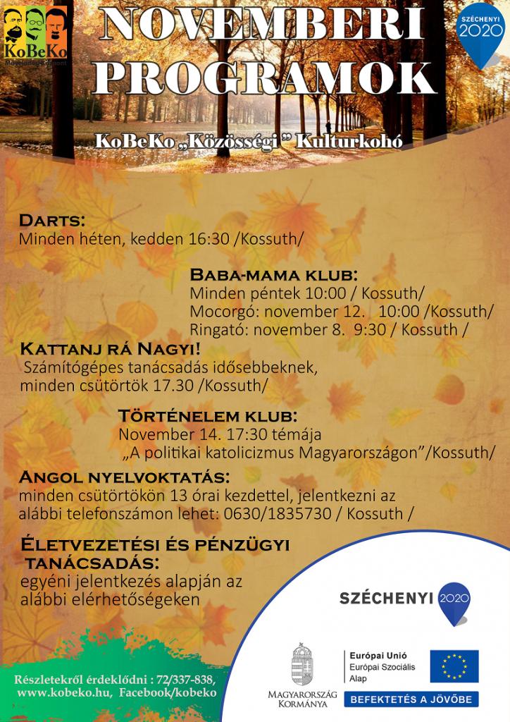 """A """"KoBeKo Közösségi Kulturkohó"""" Novemberi programjai"""
