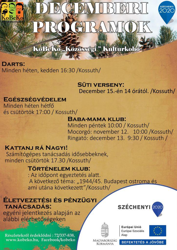 "KoBeKo ""Közösségi"" Kultúrkohó Decemberi programjai"